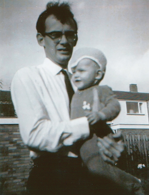 Dawe as a boy with father Roger Dawe