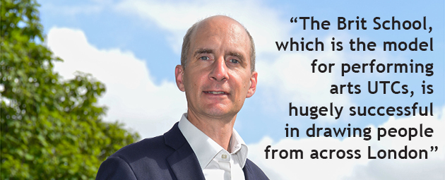 Adonis calls for specialist 14 to 19 provision 'like the Brit School' in every region of the country