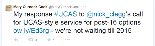 The UCAS chief executive also took to twitter to rebuff Nick Clegg