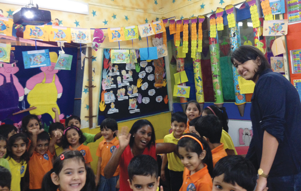 Laura on a visit to Jumbo Kids, Podar Education, in India last month