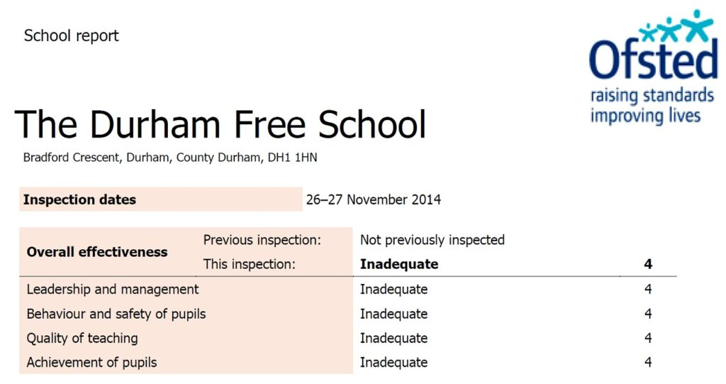 Ofsted slams Durham Free School as inadequate - 16 months after Gove praise