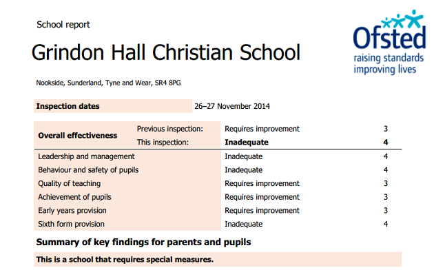 Christian free school labelled 'inadequate' by Ofsted