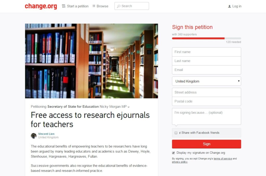 Momentum continues for fight to give teachers free research journal access