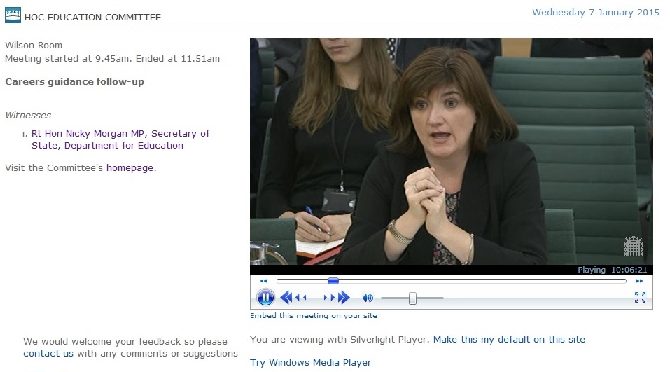 Education Select Committee Review: Nicky Morgan on Careers Advice and Guidance