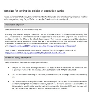 Policy costing
