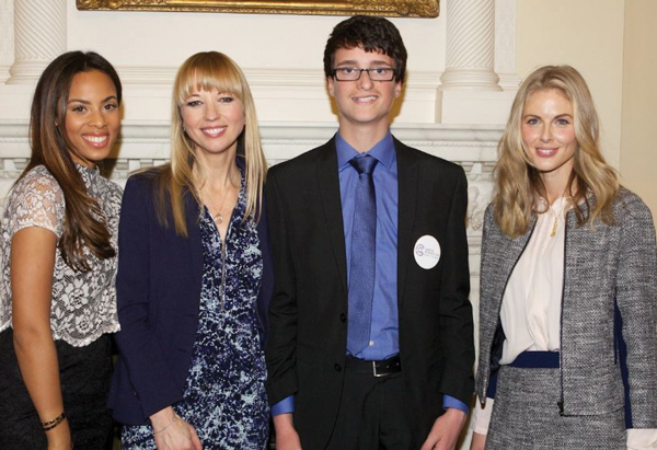 Adam Brombley meets with celebrities at Number 10. From left: Rochelle Humes, Sara Cox