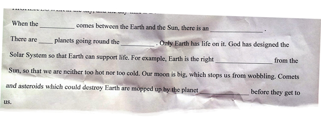 Exclusive: 'God designed the solar system,' says worksheet
