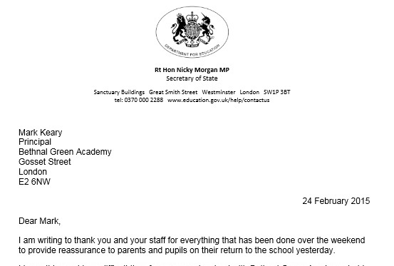 Syria Schoolgirls: Morgan writes to Principal of Bethnal Green Academy