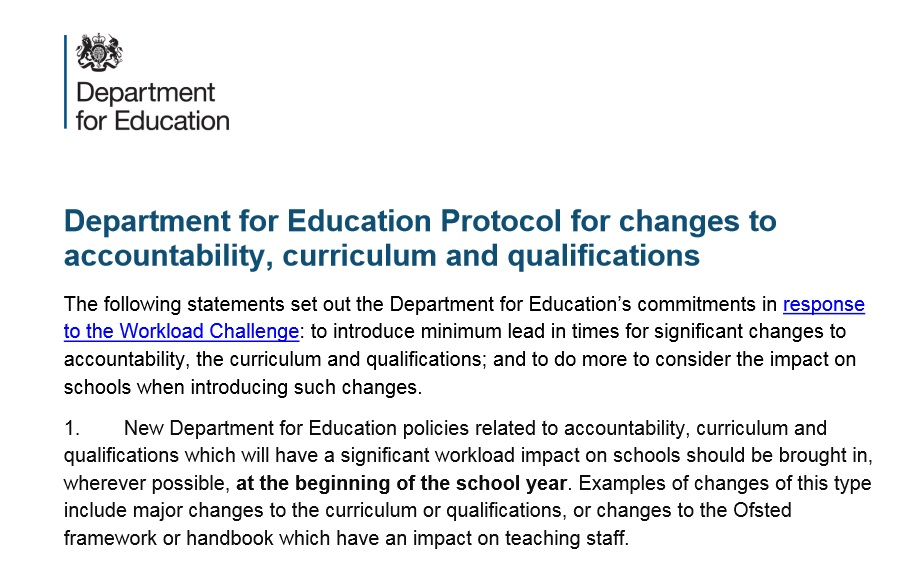 How the DfE will introduce curriculum and qualification change from now on