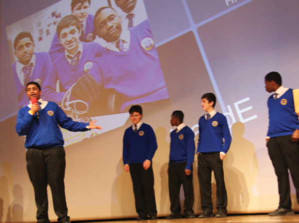 Greig City Academy computer science pupils presenting their concept HandE at the London Festival of Education