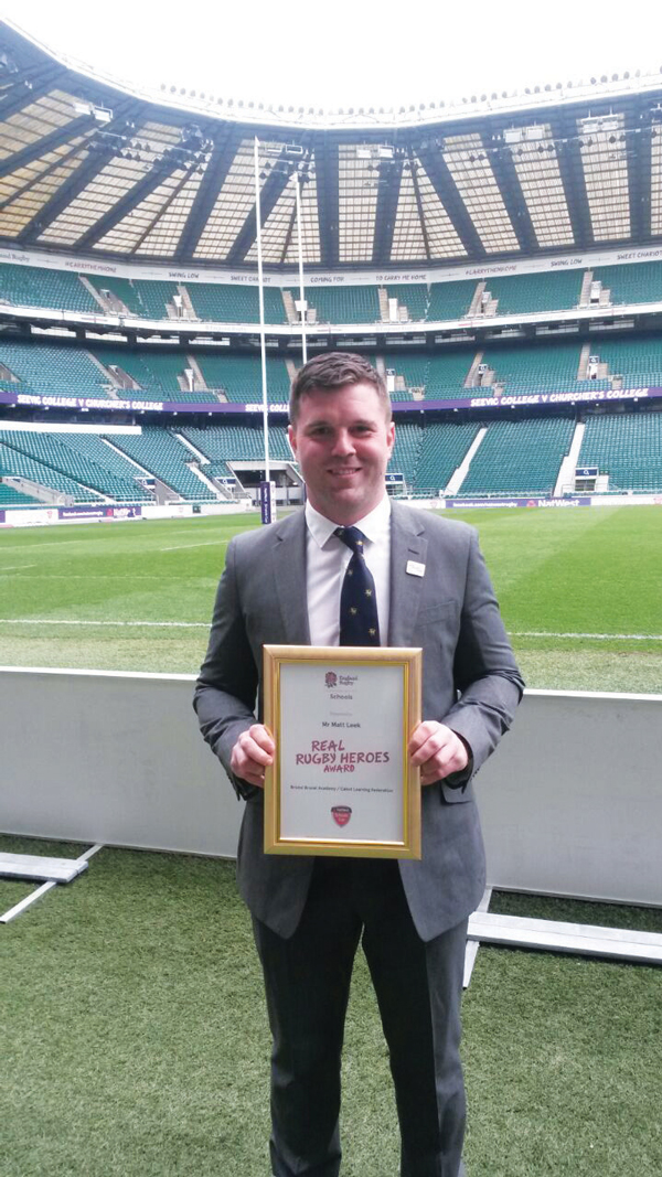 Matt Leek accepts his Real award at Twickenham
