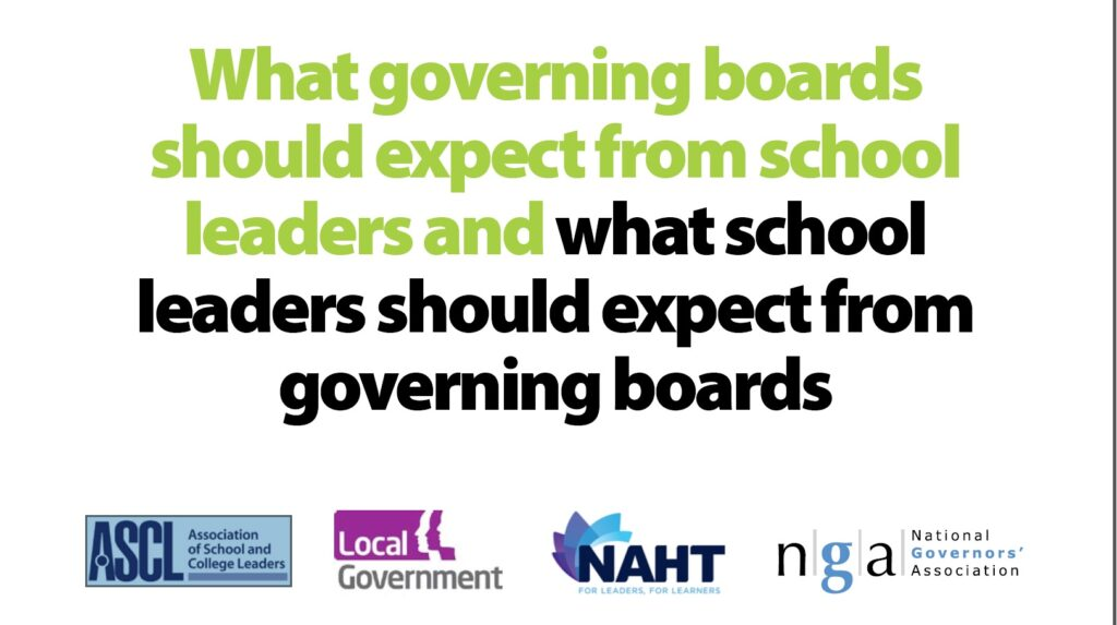 New paper lays out what governors and school leaders should expect from each other