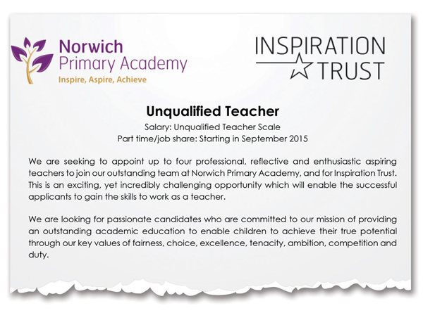 Unqualified Teachers Wanted At Norwich Primary School