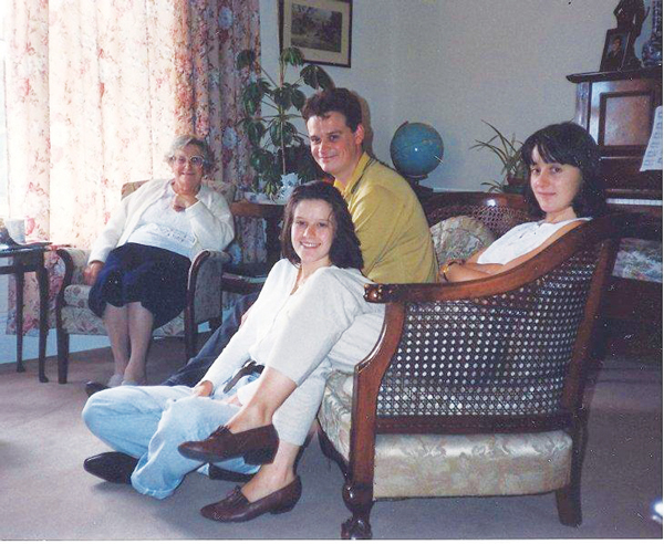 Left to right nanny Ida Hargreaves, Douglas Sproat (brother), Liz, Kathryn Riley (sister)