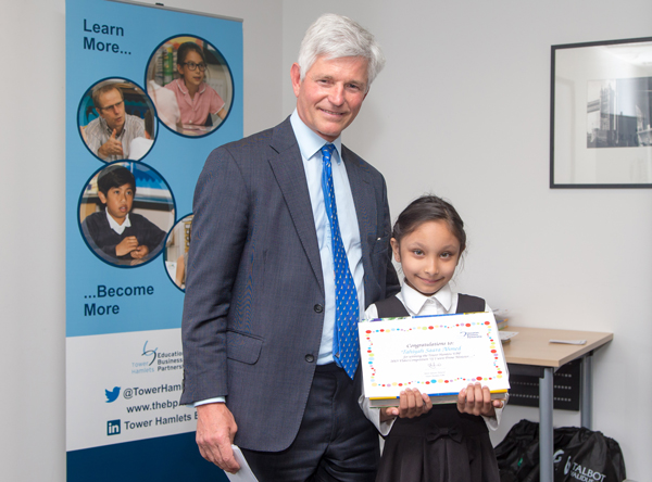 Video comp youngest winner Tahiyah with Rupert Atkins
