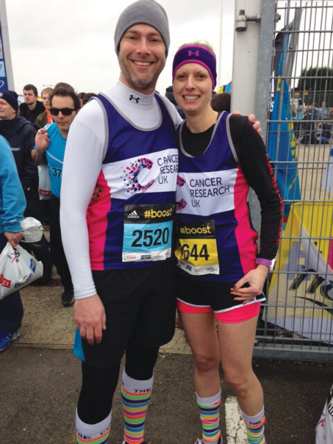 Simon with wife Leanne at the Silverstone half marathon in aid of Cancer Research UK