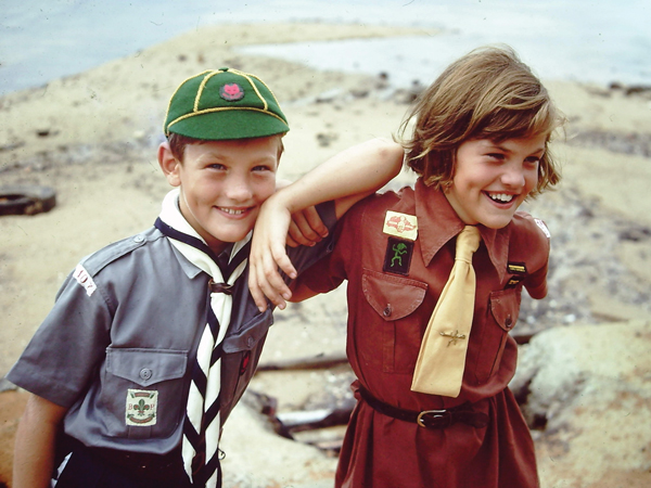 Cladingbowl and his older sister, Sue, in their Cubs and Brownies  uniforms