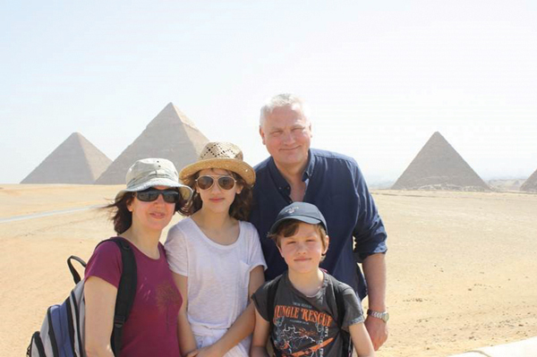 Cladingbowl with his wife Valerie, and children Anna and Sam, on a trip to Egypt this Easter