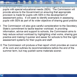 The commission's statement of intent
