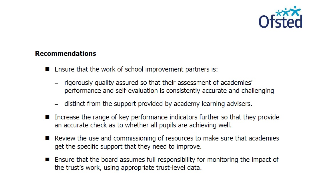 Ofsted's inspection recommendations