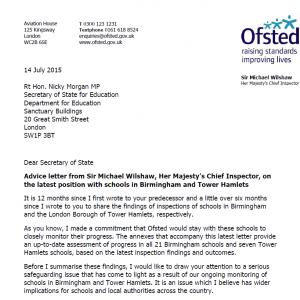 Ofsted Letter Radicalisation