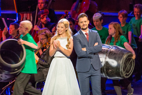 Presenters Molly Rainford and Barney Harwood talk to the audience