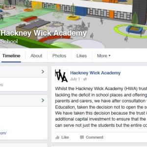 Hackney Wick Academy updated parents of its delay over Facebook