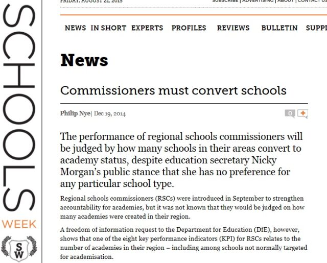Schools Week exclusively revealed last year that RSCs would be judged on how many schools they convert