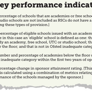 Regional school commissioner's key performance indicators