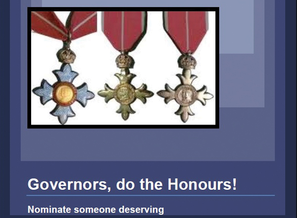Governors deserve gongs too