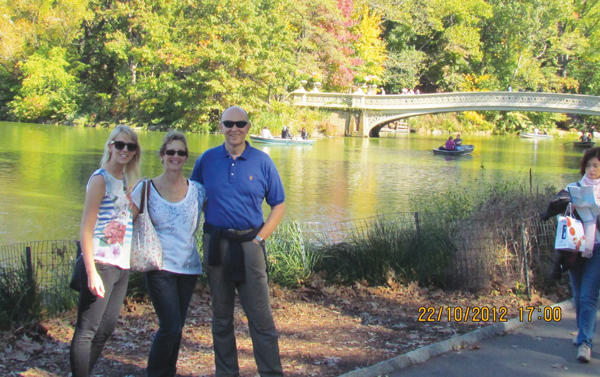 Julie in Central Park with husband Mike and daughter Jennie