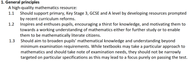 Extract from the maths guidelines
