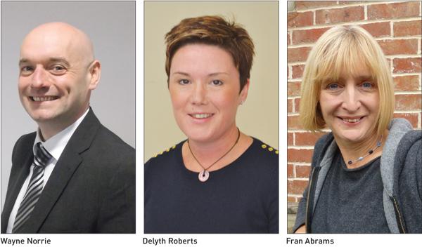 Wayne Norrie, Delyth Roberts and Fran Abrams