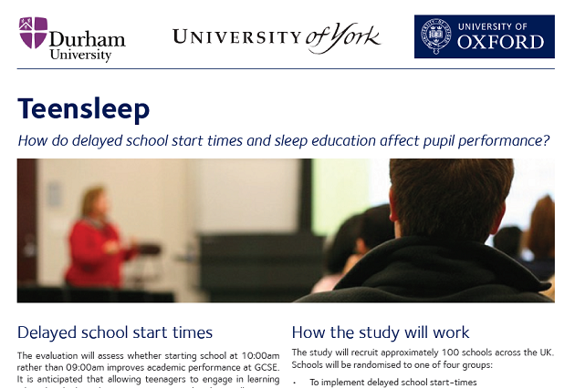 100 schools sought to test later start times in sleep study