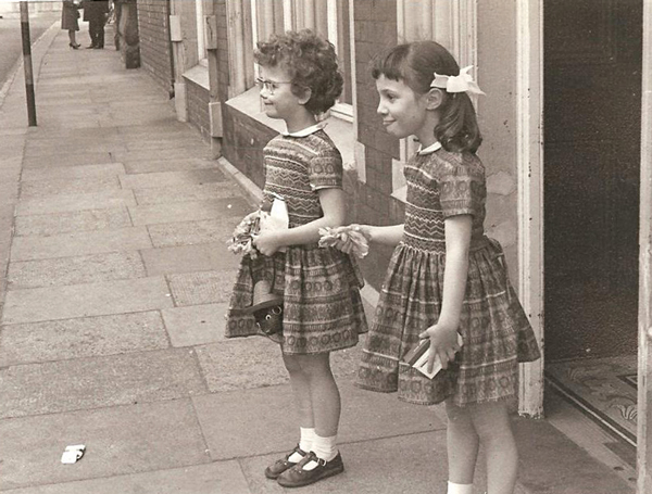 Julie with sister Alison, age 6