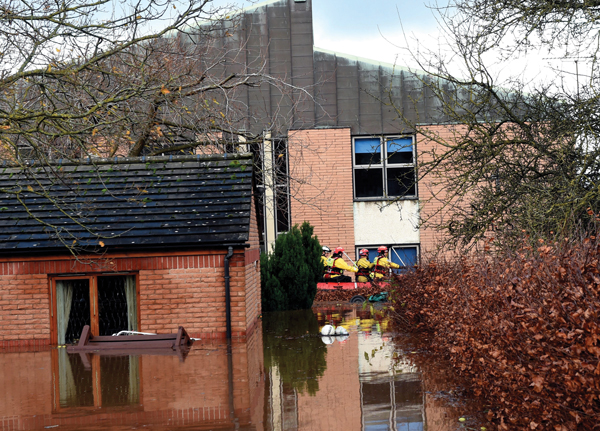 Emergency services rescue of two people trapped in Newman School