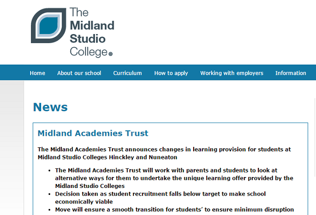 Midland Studio College schools in Hinckley and Nuneaton to close due to low pupil numbers