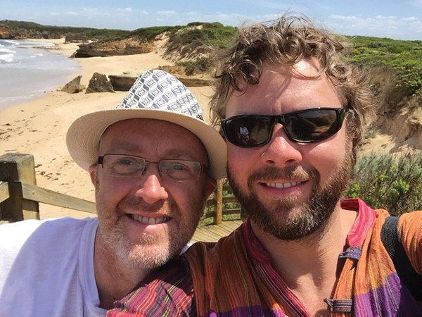 Steve Lancashire in Australia with his partner Gary