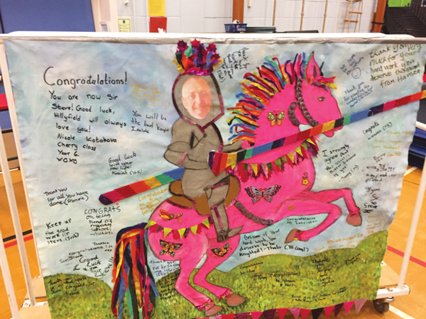 A surprise card from pupils at Hillyfield Primary Academy after the announcement of his knighthood
