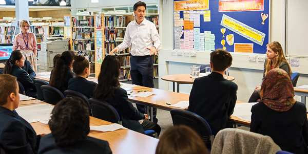 Former Labour leader Ed Milliband talks to pupils at Haverstock School about his career