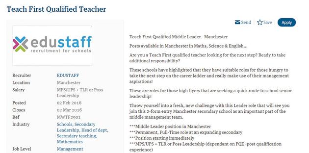 Recruitment agency slammed for 'Teach First only' job advert