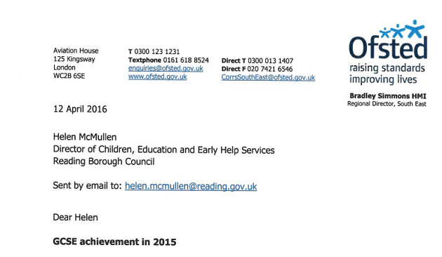 Reading Council responsible for academies' GCSE performance, Ofsted says
