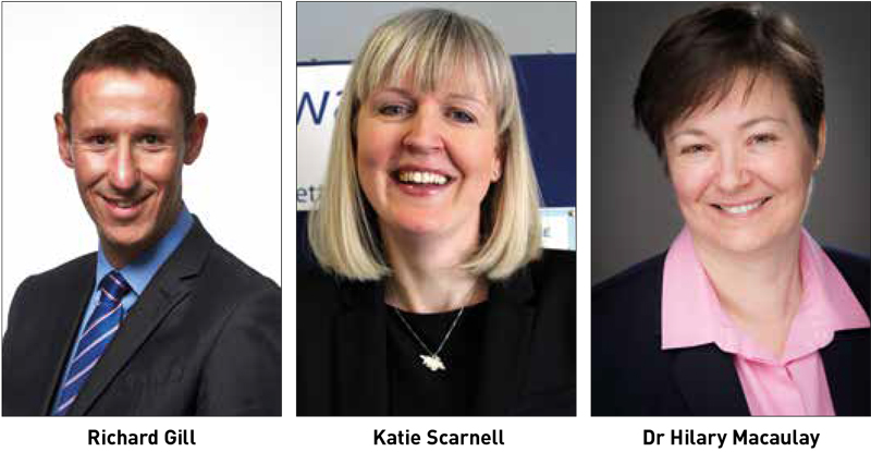 Richard Gill, Katie Scarnell and Dr Hilary Macaulay