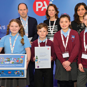 Egglescliffe Church of England Primary pupils are presented with their prize
