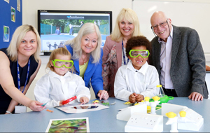 Scientist Dame Kay Davies (centre left) at the official opening