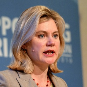 Secretary of State for International Development, Justine Greening, speaks during International Syria NGO conference in London, as world leaders faced calls to put in place a new multi-billion pound deal to support the millions of Syrian refugees who have fled the fighting in their country's brutal civil war.