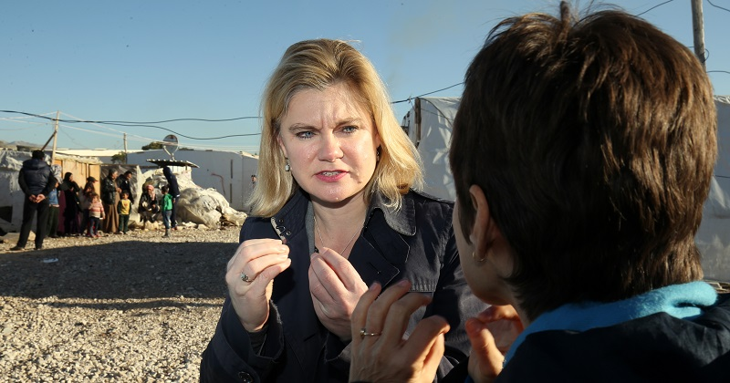 Secretary of State for International Development Justine Greening (centre) during a visit to an Informal Tented Settlement occupied by Syrian refuges close to the Syrian boarder in Lebanon, to see how the UK's response and aid is helping the refugee crisis.