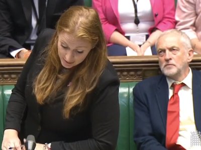Rayner and Labour leader Jeremy Corbyn in the Commons