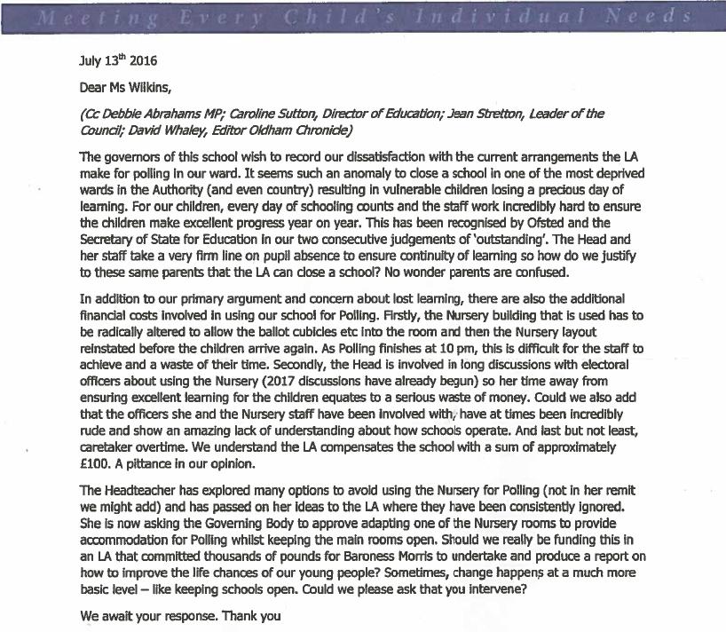 Polling station letter