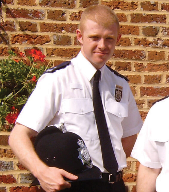 O'Brien in his passing out parade as a special constable in 2005